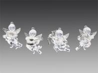 Херувим прозрачный с серебряными крылышками с музыкальными инструментами, асс. из 4-х, 7,5 см