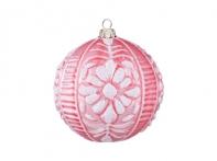 """Шар """"Пастораль"""" розово-белый (стекло), 10 см"""