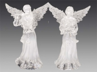 Ангел в хитоне жемчужно-белый с серебром, асс. из 2-х: с лютней/флейтой, 8,5х12,5 см