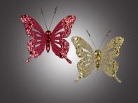 """Бабочка """"Бали"""" искристая на прищепке, асс. из 2-х: красная, золотая, 10,5х9 см"""