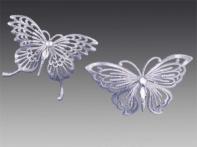 "Бабочка ""Махаон"" серебряная искристая со стразами, асс. из 2-х, 13х10 см"