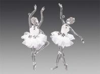 """Балерина """"Балансе"""" прозрачная в белой кружевной пачке со стразами, асс. из 2-х, 5х15 см"""
