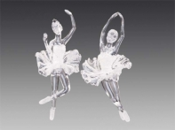 """Балерина """"Круазе"""" прозрачная в белом искристом платье, асс. из 2-х, 6,5х15,5 см"""