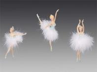 """Балерина """"Танец лебедей"""" в голубом платье и пачке из пуха, асс. из 3-х, 14-19 см"""