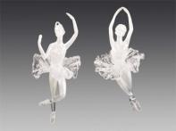 """Балерина """"Фуэте"""" прозрачно-жемчужная, пачка - искристое серебро, асс. из 2-х, 6,5х15,5 см"""