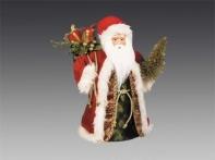 Дед Мороз в красно-зеленой шубе с мешком подарков и золотой елочкой, 30 см