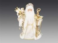 Дед Мороз в кремовой шубе с мешком подарков и посохом, 30 см