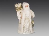 Дед Мороз в кремовой бархатной шубе, 45 см
