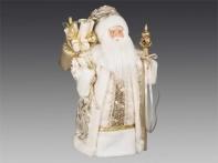 Дед Мороз в кремовой шубе с золотистыми узорами, 40 см