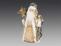 Дед Мороз в узорной шубе с мешком подарков и посохом, 40 см