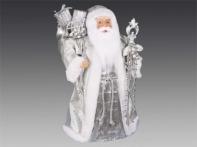 Дед Мороз в серебряной шубе с мешком подарков и посохом, 45 см