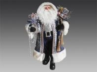 Дед Мороз в сине-золотой шубе и сапогах, 45 см
