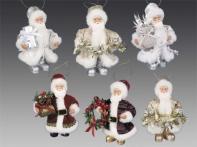 Дед Мороз в шубе, асс. из 6-ти: красный/бордо/серебр./белый/шампань/золотой, 13 см