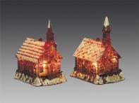 Домик с башенкой с подсветкой красно-золотой искристый, асс. из 2-х, 6х7,5х10,5 см