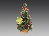 Елочка настольная, украшенная шариками, цветами и шишками, в золотой корзинке, 25 см