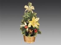 Елочка настольная, украшенная ангелочками и подарками, в золотой корзинке, 20 см