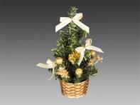 Елочка настольная, украшенная веточками, шариками и подарками, в золотой корзинке, 20 см