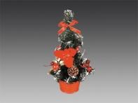 Елочка настольная, украшенная бантиками, цветами и шишками, в красной корзинке, 25 см