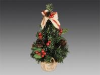 Елочка настольная, украшенная ягодами, шариками и шишками, в мешке, 30 см