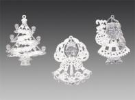 Игрушка новогодняя прозрачная с белым искристым декором, асс. из 3-х: ангел, елочка, Дед Мороз, 9 см