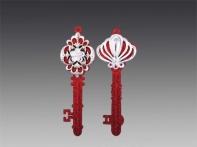 """Ключ """"Барокко"""" красный искристый с графитовыми узорами и стразами, асс. из 2-х, 4х13 см"""