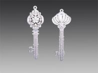 """Ключ """"Барокко"""" серебряный искристый с графитовыми узорами и стразами, асс. из 2-х, 4х13 см"""