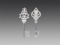 Ключ фигурный прозрачный, декорированный серебром, асс. из 2-х, 5х15 см