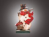 """Композиция рождественская настольная """"Снеговик в красном шарфе и цилиндре"""" (дерево), 14х5х21 см"""
