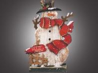 """Композиция рождественская настольная """"Снеговик в красном шарфе и цилиндре"""" малая (дерево), 9,5х4х15 см"""