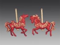 Лошадка на карусели красно-золотая искристая, 12х11 см