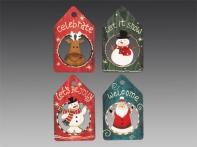 """Магнит """"Поздравительная дощечка"""" рождественская в дисплее (дерево), асс. из 4-х, 8х5 см"""