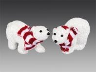 Медвежонок полярный в красно-белом полосатом шарфике, асс. из 2-х, 9,5х6 см