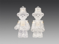 Медвежонок-солдатик прозрачный в серебряном блестящем мундире, асс. из 2-х, 4,5 х10 см