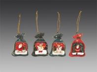 Мешочек с рождественскими подарками от Деда Мороза в дисплее (дерево), асс. из 4-х, 8,5х6 см