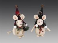 Мышь белая в клетчатом красно-зеленом колпачке (текстиль), асс. из 2-х: со снежинкой/шишкой, 17 см