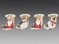Носочек рождественский декоративный на прищепке в дисплее (дерево), асс. из 4-х, 8,5х8 см