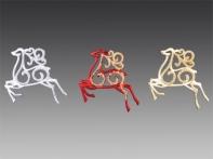 Олень гарцующий блестящий, асс. из 3-х: золотой, красный, серебряный, 10х9 см