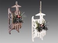 Сани рождественские с шишками, асс. из 2-х: белые, коричневые, 10х13 см