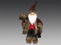 Санта в колпаке и унтах, с фонарем и мешком подарков, 40 см