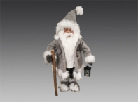 Санта в серо-белой шубе, колпаке и валенках, 34х22х81 см
