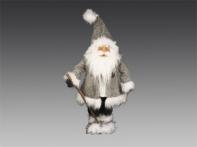 Санта в серо-белой шубе, колпаке и валенках, 28х17х68 см