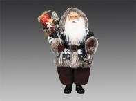 Санта в скандинавской куртке с капюшоном, в башмаках, с фонарем и мешком игрушек, 45 см