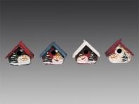 Скворечник декоративный с Сантой/Снеговичком (металл) в дисплее, асс. из 4-х, 4,5х5х3,5 см