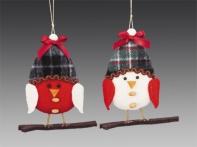 Снегирь красно-белый в клетчатой шапочке на веточке (текстиль), асс. из 2-х, 13 см