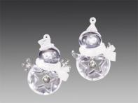 Снеговичок/Пингвин прозрачно-искристый с кристаллом в шапочке и шарфике, асс. из 2-х, 6,8х8,5 см