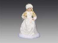 Снегурочка с жемчужными бусами в белой атласной шубе и шапочке с белой опушкой, 40 см