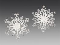 """Снежинка """"Ледяной восторг"""" жемчужная с серебряной кромкой, асс. из 2-х, 11х12,5 см"""