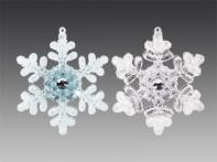 Снежинка с заснеженными кончиками и стразом, асс. из 2-х: прозрачная, голубая, 9х4 см