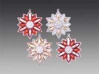 """Снежинка-цветочек """"Новогодний карнавал"""", асс. из 4-х: красно-серебряная искристая, красно-серебряная блестящая, шампань/серебро, серебряно-золотая искристая, 5,5х6 см"""