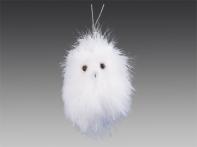 """Сова """"Флаффи"""" из белоснежных перьев, 9х14 см"""